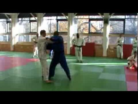 Kerrith Brown and Fitzroy Davies go over Seoi Nage